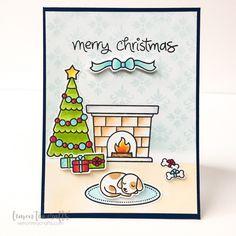 Handmade Christmas card using Lawn Fawn Christmas Dreams and Pretty Pink Posh Damask Greetings.