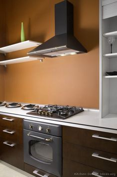 #Kitchen Idea of the Day: Modern Kitchen with dark wood cabinets, brown walls, and black metal appliances. Lovely colors!