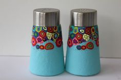 OOAK salt and pepper shaker -covered Polymer clay  - Housewarming gift idea