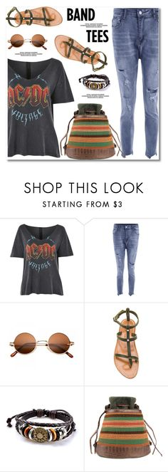 """""""I'm With the Band: Band T-Shirts"""" by paculi ❤ liked on Polyvore featuring Topshop, K. Jacques and bandtees"""