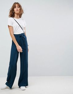 ASOS Tailored PANTS With Wide Leg In Soft Melange - Green #womenstrousers