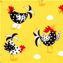 Tela amarilla de Robert Kaufman, con gallos pollos huevos