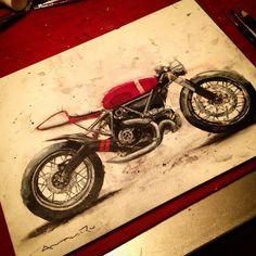 """Ducati Scrambler Cafe Racer. Just because it hasn't been released doesn't mean I can't start customizing 'mine'. @scramblerducati @ducatiusa #antihero…"""