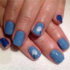 Blue Matte Dandelion with Glitter Nail Art.