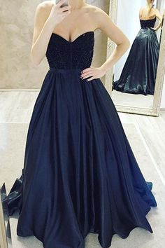 Dark Navy Ball Gown Prom Dresses,Long Prom Dresses,Cheap Prom Dresses,Evening Dress Prom Gowns, Custom Made…