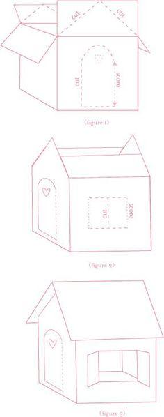 Como fazer uma casinha de uma caixa de papelao !