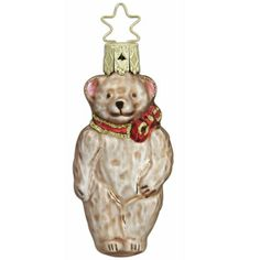 """Old Friend Teddybear Christmas Ornament Inge-Glas of Germany 3"""" Mouth blown, hand painted European glass ornament made in Germany Teddybear ornament with red or green bow. Choose"""