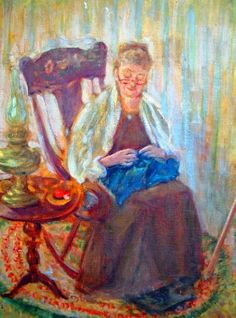 A Knitting Grandma Painting by