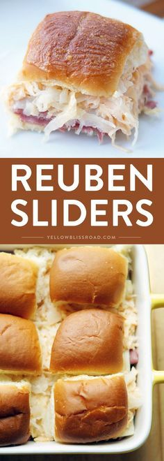 Reuben Slider Sandwiches are perfect for Saint Patrick's Day, but are so delicious, you will be craving them all year round! Reuben Slider Sandwiches are perfect for Saint Patrick's Day, but are so delicious, you will be craving them all year round! Finger Food Appetizers, Appetizers For Party, Finger Foods, Appetizer Recipes, Appetizers Superbowl, Birthday Appetizers, Vegetarian Appetizers, Appetizer Ideas, Reuben Sandwich