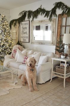 I like this kind of evergreen garland, but it's hard to find fake. Real makes too big of a mess for me. Lots of found and thrifted items in this Christmas home tour