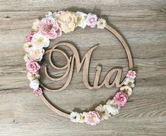 Flower wreath to personalize with poetic first name pink, ocher and . Baby Shower Checklist, Best Bridesmaid Gifts, Valentines Day For Him, Floral Backdrop, Giant Paper Flowers, Diy Flowers, Floral Hoops, Baby Decor, Girl Nursery