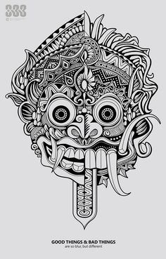good things and bad things sometimes are so blur, but different actually. right side is Barong (indonesian good wayang character) and left side is Rang. good things and bad things Tattoo Drawings, Art Drawings, Tattoo Art, Hannya Tattoo, Demon Tattoo, Mask Drawing, Barong, Aztec Art, Doodles Zentangles