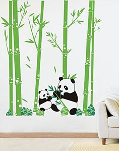PopDecors  Pandas Love Bamboo  79in H  Custom Beautiful Tree Wall Decals for Kids Rooms Teen Girls Boys Wallpaper Murals Sticker Wall Stickers Nursery Decor Nursery Decals PT0074 -- Read more reviews of the product by visiting the link on the image.