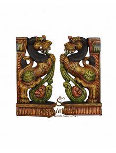 Different look multicolour Yaazhi wooden statue Wood Crown Molding, Door Brackets, Wooden Elephant, Wooden Statues, Pooja Rooms, Dark Wax, Clay Art, Beautiful Birds, Sculpting