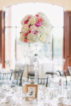 Tablescape | A Classic, White and Pink Wedding | Wedluxe | 2015