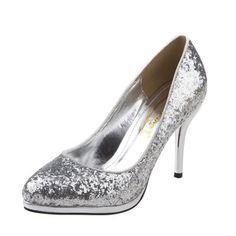 Frauen Absatzschuhe Geschlossene Zehe Heels Stöckel Absatz Funkelnde Glitzer Schuhe