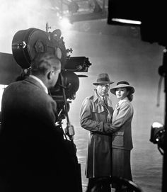 "Bogart & Bergman filming the final scenes in ""Casablanca""."