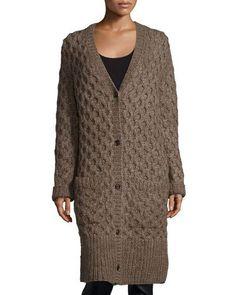 MICHAEL KORS Button-Front Textured Long Cardigan, Java. #michaelkors #cloth #cardigan