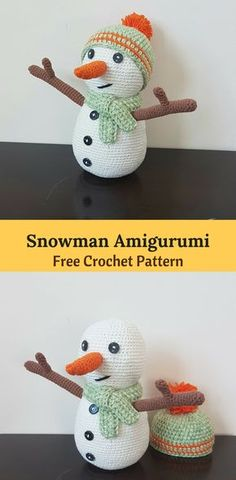 Crochet Snowman Amigurumi, a super cute free crochet pattern to use as a display on you shelf or a cuddly toy. With the head and body worked in one piece, you only need to sew on a few parts. Try it! #crochetamigurumi #crochet snowman #crochet toys
