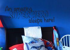 A Super Hero Sleeps Here Vinyl Wall Decal for Batman, Spiderman, Superman, Room - visit to grab an unforgettable cool 3D Super Hero T-Shirt!