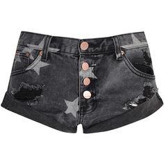 Black Wash Star Print Denim Shorts ($39) ❤ liked on Polyvore featuring shorts, black, ripped shorts, denim short shorts, denim shorts, relaxed fit shorts and lace-up shorts
