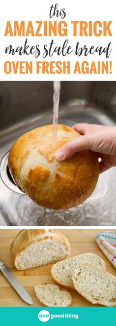 Who doesn't love a good, crusty loaf of bakery bread? It can be tricky to eat a whole loaf before it starts to go stale, but that doesn't mean you need to toss it out. Here's a quick and easy method to restore stale bread to its former glory! Bread Oven, Stale Bread, Bread Baking, Hard Bread, Quick Bread, How To Make Bread, Bagels, Croissants, Bread Recipes