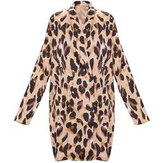 Leopard Oversized Loose Fit Blazer Dress ($45) ❤ liked on Polyvore featuring dresses, cut loose dress, oversized dresses, oversized blazer dress, loose fitted dresses and loose dress