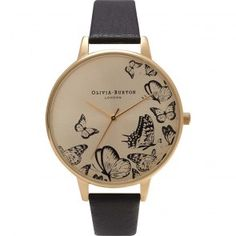 Olivia Burton Watch - Animal Motif - Multi Butterfly Black & Gold