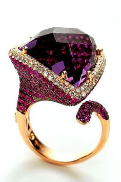 Amethyst and Gem-Stone Ring
