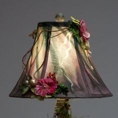 Delightful Floral hand dyed Lamp Shade by SHADESofEnchantment,