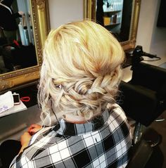 Loose messy vintage low down upstyle with a plait on blonde hair by Katie at Kreation Plait, Blonde Hair, Stylists, Dreadlocks, Hair Styles, Beauty, Vintage, Hair Plait Styles, Yellow Hair