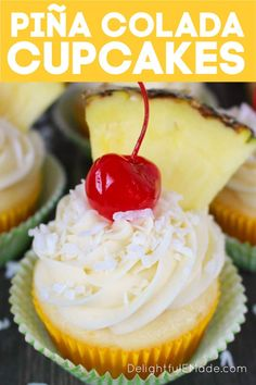 The classic Pina Colada cocktail turned into a homemade cupcake! These Pina Colada Cupcakes included a moist, delicious cake and topped with a homemade coconut cream cheese frosting. These pineapple coconut cupcakes are perfect to celebrate any summer occasion!    Delightful E Made Pina Colada Recipe Non Alcoholic, Alcoholic Cupcakes, Drunken Cupcakes, Alcoholic Desserts, Cake Mix Recipes, Cupcake Recipes, Baking Recipes, Dessert Recipes, Goodies