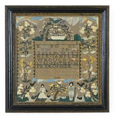 """Sally Witt, Sarah Stivours School, Salem, Massachusetts, 1986 Worked with characteristic silk long stitches on a linen ground, with a """"tombstone"""" device enclosing bands of alphabets and basket of fruit and flowers, the borders with gentle folk and flowering trees. sold for $34,375"""