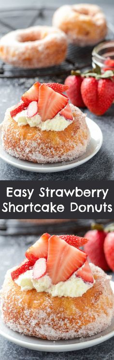 Strawberry Shortcake Donuts that only take 15 minutes to make! Strawberry Shortcake Donuts that only take 15 minutes to make! Delicious Donuts, Delicious Desserts, Yummy Food, Healthy Donuts, Homemade Strawberry Shortcake, Strawberry Recipes, Donut Recipes, Baking Recipes, Köstliche Desserts