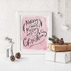 Merry Christmas Print | Christmas Home Decor | Christmas Art | Wall Art | Printable | Instant Download