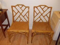 Vintage Bamboo Chinese Chippendale side chair one left