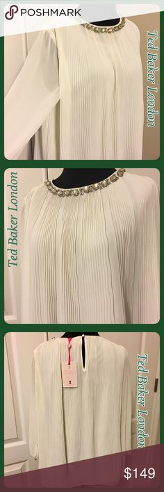 NWT Ted Baker London Pleated Embellished Top NWT Ted Baker London Pleated Embellished Woven Top. Sheer sleeves with button on cuffs. Extra button on tag. One button closure on back. This was my daughter's & she never wore it. Paid full price! Body of top has lining & Pleated shell. 100% polyester. Clear jewels at neckline in the front. All intact. No flaws. Just been hanging in her closet! Ted size 3, which is a medium, 8/10. See Ted size chart on the Ted Baker dress that I also have for…