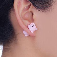 Pink Pig Stud Clay Earrings