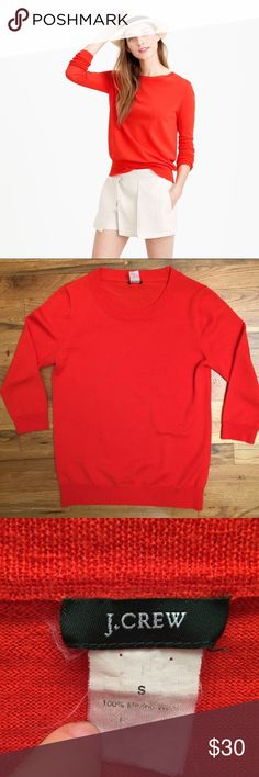 """J. Crew 100% Merino Wool Red Sweater S This has few spots of stain on it on the front as pictured. I haven't tried drycleaning, which might take care of them. They look like a splash of soya sauce. Not big spots at all but they're there! Bust:17"""" Length:24"""" Sleeves:24"""" J. Crew Sweaters Crew & Scoop Necks"""