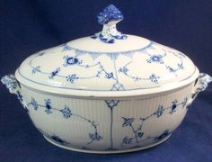 Royal Copenhagen BLUE FLUTED PLAIN Tureen w/Notched Lid 214 & Underplate 99 ASIS #ROYALCOPENHAGEN
