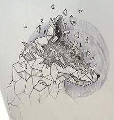Эскиз головы геометрической лисы
