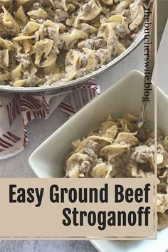 Easy Stroganoff made with ground beef and simple ingredients! Favorite family recipe!