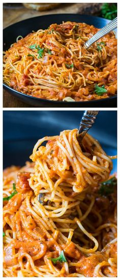 This delicious Spicy Tomato Cream Pasta is topped with red pepper flakes and basil -great dish to cook up after a long day.