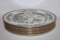 Aynsley Indian Tree dinner plates set of six 1930s