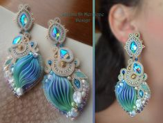 Earrings - by Serena Di Mercione Design - Beadembroidery and Soutache - Shibori silk, Swarovski, pearls.