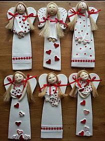 pl The post www.pl # appeared first on Beton Diy. Clay Christmas Decorations, Christmas Clay, Christmas Angels, Christmas Ornaments, Diy Xmas, Holiday Crafts, Clay Ornaments, Angel Ornaments, Pottery Angels