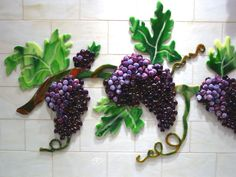 Fused Glass Kitchen Backsplash with Grapes & Vines | Designer Glass Mosaics|Designer Glass Mosaics