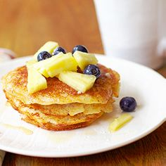 Pina colada pancakes with rum syrup. Gluten free