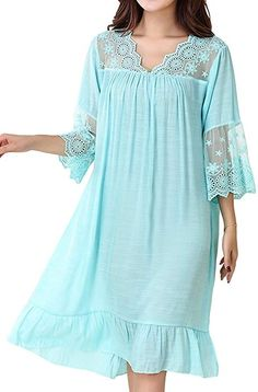 Asherbaby Women s Summer Casual Night Gown Lace Cotton Sleepwear Pajama  Tops Light Blue US L Tag XXL at Amazon Women s Clothing store  cbb7d35c52a