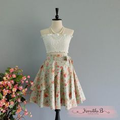 Summer's Whisper Floral Skirt Spring Summer Sweet Blue Floral Skirt Party Cocktail Skirt Wedding Bridesmaid Skirt Pale Blue Floral Skirts